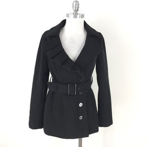 New York & Company S Black Ruffle Coat belt Excell
